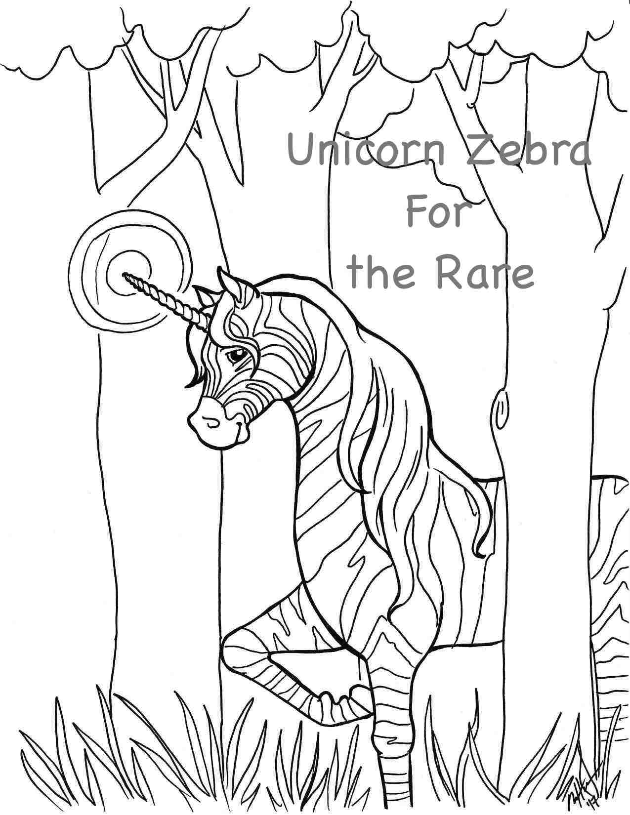 Zebra Unicorn Coloring Pages